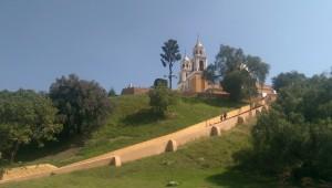 Cholulu church on top of ancient earth pyramid