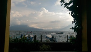 Boats on Lake Atitlan in the rain
