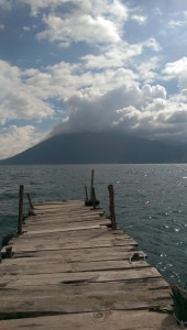 The private jetty at Pasajcap with a view across the lake of the volcano
