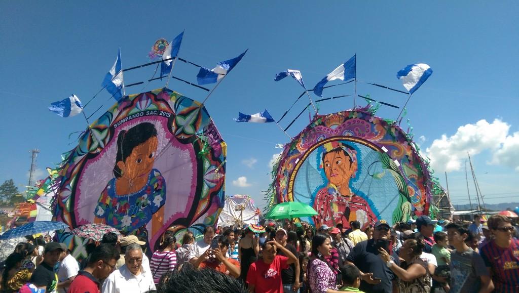 Two kites on display at Sumpango Kite Festival