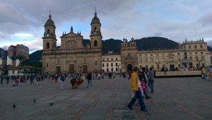 Man walking his llama in front of the cathedral in Bolivar Square, Bogota