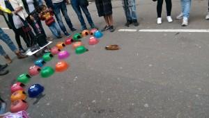 Guinea pig gambling game at Bogota street market
