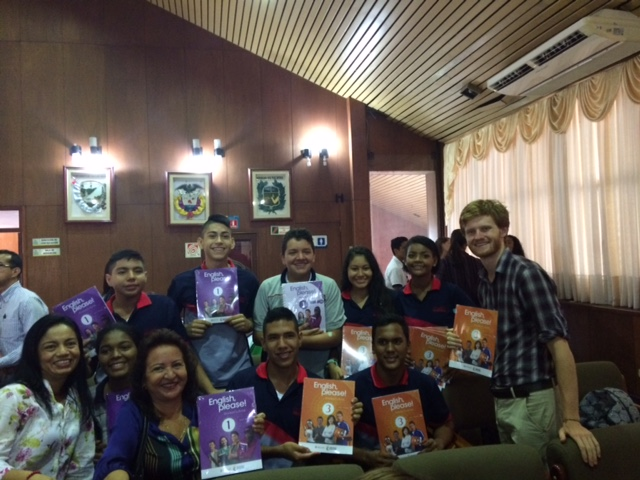 Tim celebrating the arrival of the new text books with some of his students