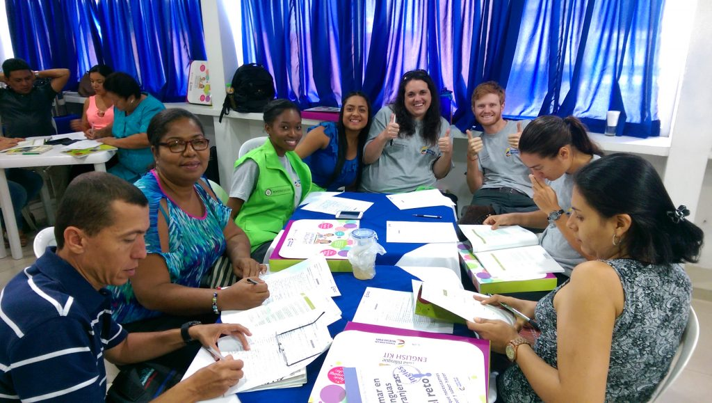 Jenny with fellow teachers at a training session