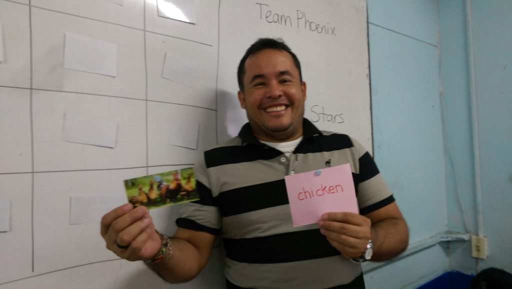 Alvaro during a lesson on healthy eating