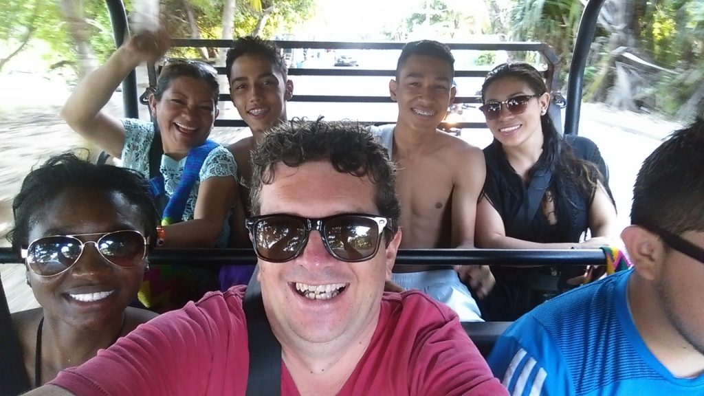 In our buggy on a tour of San Andres island